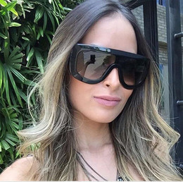Wholesale Borders Frames - 2018 Cross-border Dunhuang new retro large frame ladies fashion sunglasses personality Siamese one piece sunglasses Europe and the United St