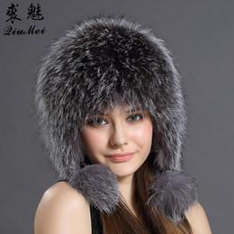 Mujeres sombrero de invierno Earflap cap de piel de zorro real caliente  gorros de piel genuina con orejeras mujer mapache sombrero ruso bombardero  sombreros ... 47236bb36a1
