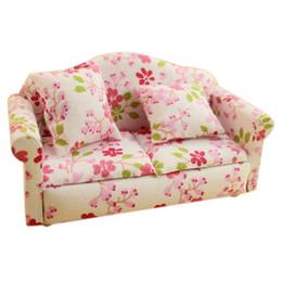 Wholesale Dollhouse Miniature Flowers - ABWE Best Sale Dollhouse Miniature Furniture Flower Print Double Seat Sofa with Cushion