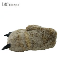 Wholesale Red Paw Print - Indoor Slippers Warm winter home slippers   paws leopard claw claw Plush bag with cotton slippers shoes (light brown).