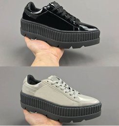 Wholesale Women White Pointy Shoes - Womens FENTY RIHANNA Pointy Creeper Patent Leather Casual Shoes For Sale