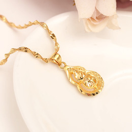 Wholesale Gourd Necklace Pendant - Dubai Real 24k Yellow Fine Solid gold GF Women Pendant Necklace Gold Color Jewelry Fortune gourd party wedding Gifts
