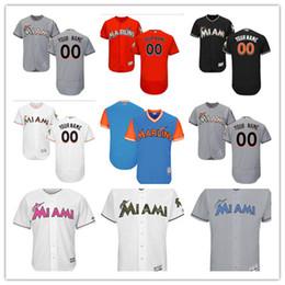 Miami kids en Ligne-Personnalisé Femmes Femmes Jeunes Majestic Miami Marlins Jersey Nom et numéro personnalisés Orange Gris Blanc Enfants Maillots de baseball