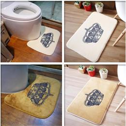 Wholesale Mattress Kit - Wholesale- 2PCS Bathroom Mats Set Rug Kit Toilet Pattern Bath Non-slip Floor Carpet Mattress for Bathroom Decor Crown Printed