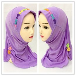 Wholesale flower hijabs - (12 pieces lot) 2017 new design flower lovely girls muslim scarf kids hijabs XHGT021