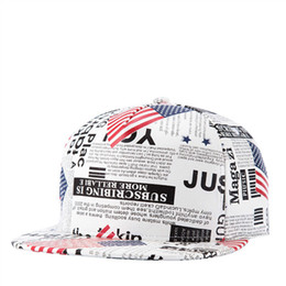 Wholesale newspaper letters - Stylish Cool American Flag Newspaper Printed Hip Hop Cap Snakpack Solid Flat Bill Leather Hat Men Women Casual Outdoor Sport