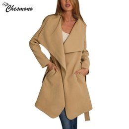 Wholesale Warm Elegant Wool Coats - chesmono Elegant Women Long Coat 2017 Autumn spring Big Lapel Belt Wool Coat Women Overcoat Coverd thin warm Trench Female