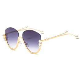 f08dd23289 Gold cat eye half frame sunglasses women pearl 2019 brown red clear cat eye  sun glasses female fashion uv400 metal