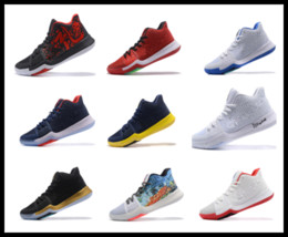 Wholesale B 24 - Epacket Chrome Marble Basketball Shoes Kyrie Irving 3 2017 men damping Irving 3 sports basketball shoe white gold 24 colors Sneakers US 7-12