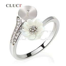 Wholesale jewelry making rings - New Design of 1Piece Adjustable DIY 925 Sterling Silver Flower Ring Accessories with Shiny Zircons, For Pearl Jewelry Making, free shipping