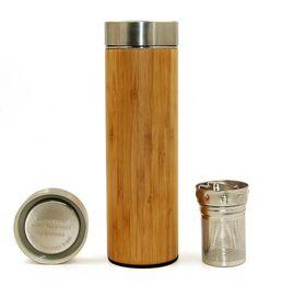 Фильтр для кружки онлайн-17oz оригинальный бамбуковый стакан с чайным инфузором и ситечком из нержавеющей стали бутылка для воды с двойной стенкой вакуумная изоляция кружка для путешествий
