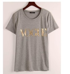 Wholesale golden printed top tee - Wholesale Fashion Golden VOGUE T-Shirts for women Hot Letter Print t Shirt short Sleeve Tops Plus size Female Tees t shirt