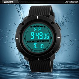 будильник обратного отсчета часов Скидка Men Sports Watches Countdown Double Time Watch Alarm Date Chrono Digital Wristwatches 50M Waterproof Relogio Masculino 2018 New