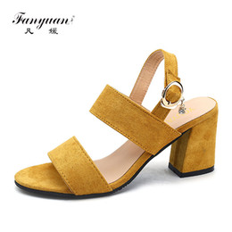 Wholesale Mature Ladies Women - wholesale fetish Summer Yellow shoes women Back strap Sandals Open toe Block high Heels mature Office lady Dress Stiletto Sandals