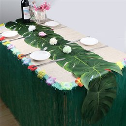 Pano havaí on-line-Simulação Folha e Pétala Blossom Set Havaí Praia Tema Decoração PARA CHURRASCO Festa de Aniversário Jantar Casamento Decoração de Casa Toalhas de Mesa corredor