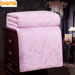 Wholesale Chinese Silk Quilts - SMAVIA Chinese Silk Duvet Comforter 100% Mulberry Silk Cotton Jacquard Cover Comfortable Blanket Winter Summer Quilt 3 Color