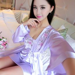 81baae70b4 Hot Sale Two Pieces Sets Elegant Womens Silk Satin Nightgowns Sleepshirts  Solid Sleepwear Mujer Robe Lady Sexy Nightdress
