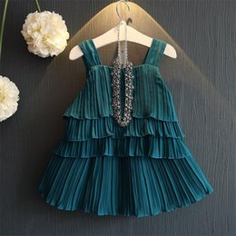 Wholesale multilayer dress - new arrival Korean style new summer baby girls dress set multilayer skirt lotus leaf sleeveless vest top + reffle skirt 2pcs set
