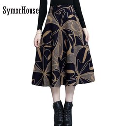 Wholesale Wool Skirts Vintage - Vintage Printed Wool Skirt Women Autumn 2017 Women High Waist Winter Dots Skirt Casual Side Pocket Pleated Long Midi