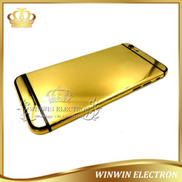 Wholesale 24k gold housing - 1PCS 100% Perfect Quality Back cover Luxury Housing for iphone 6 24k Mirror gold Chassis Battery Door with Logo+Card tray+Button