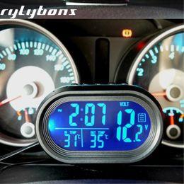 2019 auto uhr thermometer spannung Auto Thermometer Uhr Automobil LED Beleuchtet Digitale Auto Uhr Auto Dual Temperaturanzeige Voltmeter Spannung Tester Ornamente günstig auto uhr thermometer spannung