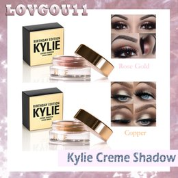 Wholesale Eye Shadow Cream Singles - Top Kylie Birthday Edition Creme eye Shadow Eyeshadow Cream Makeup Creme Copper And Rose Gold 2colors Kyshadow Kit Kylie Cosmetics 660023-1