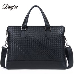 DANJUE Men Handbags Genuine Leather Male Briefcase Trendy Black Laptop Tote  Weave Paern 14inch Computer Bag Man Soft Leather 4f7b21e88dfde