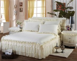 Wholesale Pink White Crib Bedding - 100% cotton lace Bedding Set 8 colors Bed Skirt Bedspreads Mattress Protective Cover Anti slip Bed Skirt Fitted and bedsprea