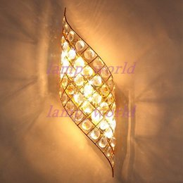 Wholesale Golden Crystal Wall Lamp - Modern Crystal Golden Angel's Wings Corridor Wall Lights Bedroom Bedsides Luxury Wall Sconces Stair Case Study Room Wall Lamp