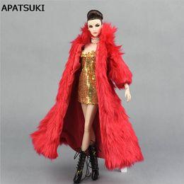 Wholesale Dolls Clothes Bjd - Doll Accessories Set Winter Super Long Fur Coat Fashion Clothes For Barbie Doll House Parka Dress For 1 6 BJD Dolls