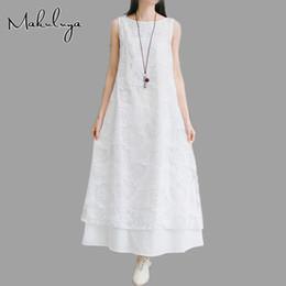 Arte popular vintage on-line-Makuluya mulheres nova primavera verão 2018 vestidos de colete de algodão vermelho branco feminino solto de linho backing arte do vintage outono indie folk qw