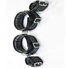 Wholesale Bondage Leather Cuff - BDSM Leather Legs Hand Wrist Cuffs Lockable Bondage Belt Slave In Adult Games For Couples , Fetish Sex Products Toys Women And Men