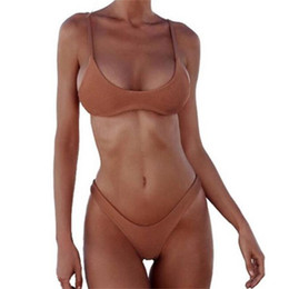 Biquini mais on-line-Mulheres Swimsuit 2019 Push Up Swimwear Bikini Set Praia Sexy Swim Suit Push Up Plus Size Cintura Alta Sólida Preto Branco