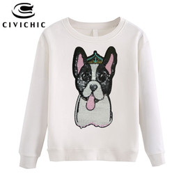 Wholesale Korean Cute Tops - CIVICHIC Stylish Women Embroidery Pullovers Sequins Puppy Hoodie Cotton Loose Sweatshirts Korean Style Cute Dog Tops Shirt WHD04