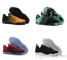 Wholesale men shoes low cut boots - High Quality Men Kobe 11 EM Mamba Day Basketball Shoes Kobe XI Low Elite Athletic Sports Sneakers Boots Black Gold Dropshipping