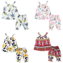 Wholesale pc black light - Kids Girls Clothing Sets Flower Puppy Bohemian Totems Graffiti Printing Strapless Shirt Top Lantern Pants 2-pcs Suit Baby Outfits 3-7T