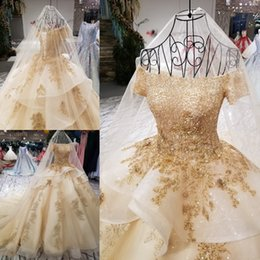 Wholesale Beautiful Bead Embroidery - 2018 Latest Beautiful Ruffles Skirt Wedding Ball Gowns Gold Embroidery Boat Neck Short Sleeve Vintage Muslim Vestidos De Matrimonio