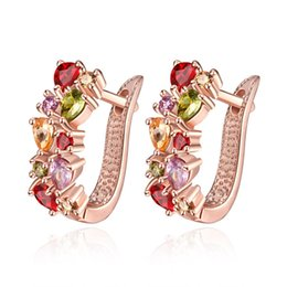 Wholesale Nickel Stone - ZOEBER Rose Gold Color Unique flowers Stud Earrings with Multicolor cubic Zircon Stone Nickel Cadmium charm Earrings Jewelry