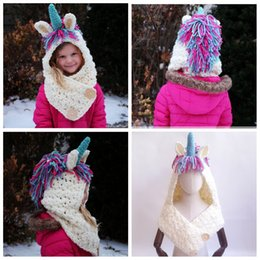 7a8fc415318 Children 2 in 1 unicorn scarf cap Kids Infant Llama Warm Knitted Hats AMUSE  cartoon warmer Winter crochet Hat 30pcs AAA1014