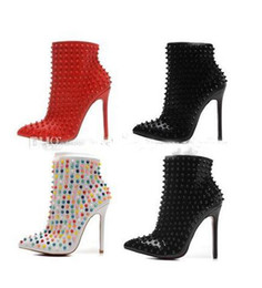 Wholesale Womens Black Studded Heels - 2New Luxury Black Genuine Leather Studded Spikes Pointed Toes Ankle Boots Womens Boots Designer Sexy Ladies Red Bottom High Heels Pumps 12cm