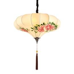 Malerei esszimmer online-OOVOV Chinesischen Stil Handgemalte Hängelampe Klassische Esszimmer Tee Haus Pendelleuchte Wohnzimmer Pendelleuchten Leuchten