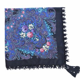 floral cotton square scarf Coupons - 15 color Russian hot fringed printed ladies square scarf Spring summer ethnic fringe stylish floral flows shawl air scarf