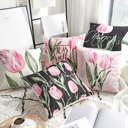 2020 cojines florales rosas Funda de almohada de algodón de lino Estilo Country Peony Floral Rosa Tulipán Cojín Inicio Decorativo Funda de almohada 45x45cm / 60x60cm rebajas cojines florales rosas