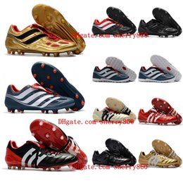 Wholesale Gold Soccer Boots - 2018 mens soccer cleats Predator Precision TF IC turf football boots Predator Mania Champagne FG indoor soccer shoes high quality cheap Hot