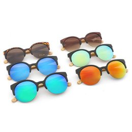 Wholesale Handmade Wooden Frame - Wood Arms Cat Eye Sunglasses Women Men Handmade Wooden Sunglass Retro Round Cateye Womens Glasses Bamboo Legs Eyewear 6 Colors LJJO4769