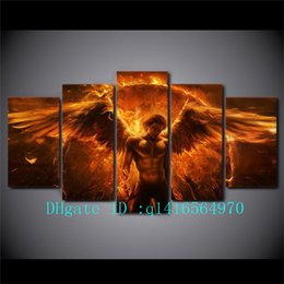Wholesale Black Magic Paint - Black Magic Flame Angel,5 Pieces Canvas Prints Wall Art Oil Painting Home Decor  (Unframed Framed)