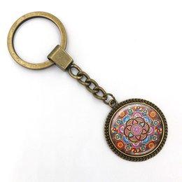 Wholesale Glass Pillar Plates - Mandala Key chain Sacred geometry Keychain jewelry handmade art glass pendant Keyring Key ring for Women New 2017 Gifts