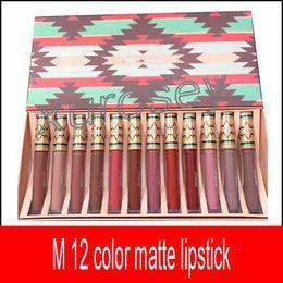 Wholesale lipstick vibe - 2018 New Matte Liquid Lipstick Vibe Tribe Lip Gloss 12PCS Set Makeup Lip cream Moisturizer Long-lasting 12 Colors free shipping