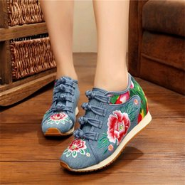 c8cd7d190e0f3 2019 Casual New Spring Women s Flower Embroidered Flat Platform Shoes  Chinese Ladies Casual Comfort Denim Fabric Sneakers Shoes