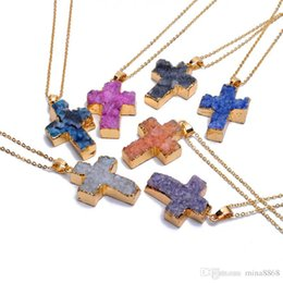 gemstone crosses wholesale Promo Codes - Colorful Fashion Christ Cross Chakra Statement Pendant Necklace Quartz Natural Stone Gemstone Rock Crystal Cross Pendant Necklace For Women